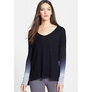 Vince Cashmere Ombré V-Neck Sweater Navy Size S